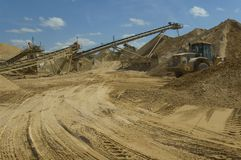 Site d'extraction de sable Photos stock