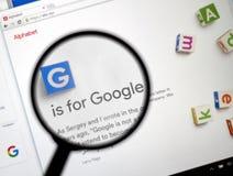 Site de Google - d'Alphabet Inc Photos stock