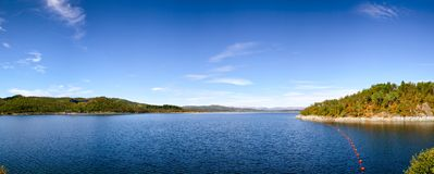 Site de réglementation d'héritage de l'UNESCO de panorama de réservoir de Mosvatn de lac photos libres de droits