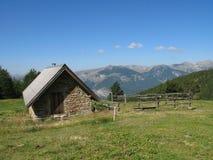 Site der Hütten von noncières, Frankreich Stockbild