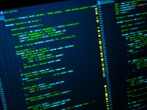 Site developing. Php code on the computer. Programming concept. Green code on the dark blue background. Web developing of the site using php language, Green php royalty free stock photo