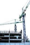 Site en construction de construction, sur le blanc Images stock