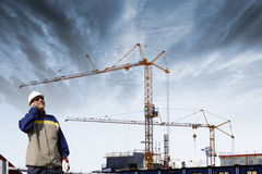 Site engineer and construction Stock Image