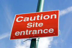 Site entrance road sign Royalty Free Stock Photography