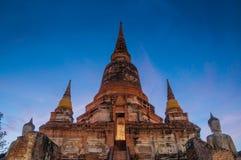 Site et statue archéologiques âgés AYUTTHAYA Thaïlande de Bouddha Photographie stock libre de droits