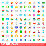 100 site icons set, cartoon style Stock Photography