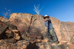 Site indigène de gorge de chambres. Chaînes de Flinders. Sud image libre de droits