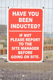 Site induction sign. Royalty Free Stock Photography