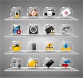 Site-Internet-Ikonen, transparente Glastaste Stockbilder