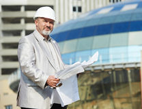 Site manager at construction area Stock Photography