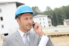 Site manager on the phone Stock Images