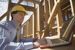 Site Manager Using Laptop Stock Images