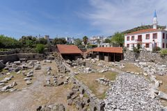 Site of Mausoleum at Halicarnassus. Bodrum, Turkey - April 13, 2014: Site of Mausoleum at Halicarnassus, one of his Seven Wonders of the Ancient World. It was Royalty Free Stock Photography