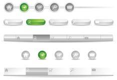 Site-Navigations-Schablonen mit Ikonen Stockfotografie