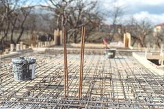 Site of new building, details and reinforcements with steel bars and wire rod, preparing for cement pouring Stock Photography