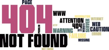Site not found wordcloud Royalty Free Stock Photo