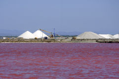 Site operating sea salt saline Aigues-Mortes Royalty Free Stock Photo