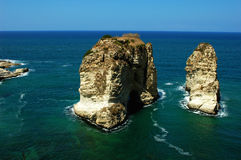 Site of Pigeon rocks at Beirut Lebanon Stock Photography