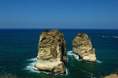 Site of Pigeon Rocks,Beirut Lebanon Royalty Free Stock Photography