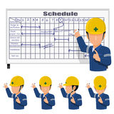 On site planning. An engineer is scheduling on the white board Stock Images