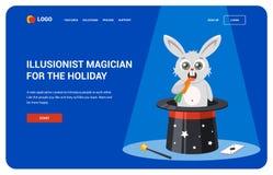 Site pour des magiciens page de d?barquement d'instruction de chapeau Illustration d'un lapin illustration de vecteur