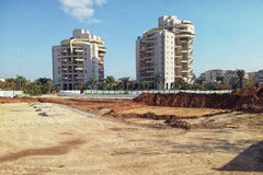 Site preparation for construction 15-story residence tower. Rishon LeZion, Israel - December 26, 2015: Site is prepared for construction 15-story residence royalty free stock photography