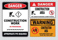 Site safety sign or construction safety Stock Photos