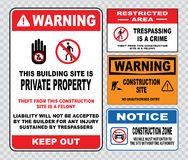 Site safety sign or construction safety. Warning this building is private property, theft this construction site is a felony. liability will not be accepted Stock Images