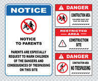 Site safety sign or construction safety. (warning trespassing is a crime, theft from this construction site is a felony, restricted area,private property Royalty Free Stock Images