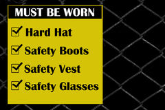 Site safety signs construction site. For health and safety Stock Images