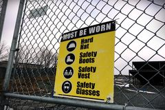 Site safety signs construction site. For health and safety Royalty Free Stock Images