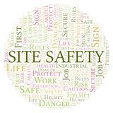 Site Safety word cloud. Word cloud made with text only stock illustration