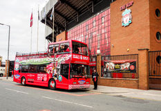 Site seeing bus in front of Anfield stadium, Liverpool, UK