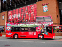 Site seeing bus in front of Anfield stadium, Liverpool, UK Stock Photography