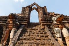 Site Stair Main Entrance at Wat Pra Khaeo Kamphaeng Phet Province, Thailand Stock Photo