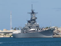 Site of Surrender. The U.S.S. Missouri, anchored in Pearl Harbor, Hawaii.  This battleship was the site of the Japanese surrender to General Douglas MacArthur in Stock Photography