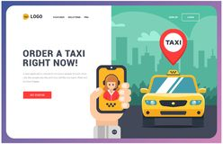 Site for a taxi. illustration of car and hand with phone. application on the phone. royalty free illustration
