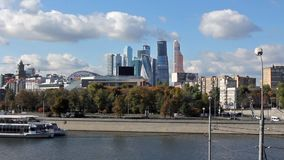 Site to Moscow City complex of skyscrapers. stock video
