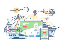 Site travel agency. Planning recreation or holiday. Vector flat illustration Stock Images