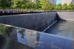 Ground zero, site of the World Trade Centre, monument to the fallen. stock image