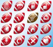 Site- und Internet-Ikonen auf den Fußball Stockbild