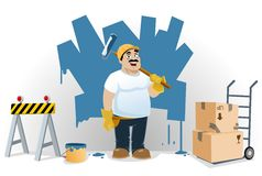 Site Under Construction. Illustration of a worker painting a wall so as to make it ready for a new theme. Image could be used in topics related to construction Vector Illustration