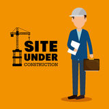 site under construction man manager icon Royalty Free Stock Images