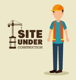 Site under construction man work uniform. Illustration eps 10 Royalty Free Stock Image