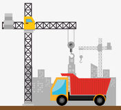 Site under construction scene with cranes Stock Images
