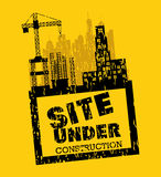 Site under construction scene with cranes Royalty Free Stock Photos