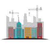 Site under construction scene with cranes Royalty Free Stock Image