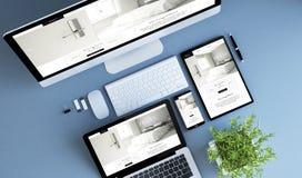 site Web bleu d'hôtel de dispositifs de vue supérieure illustration libre de droits
