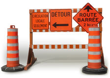 Site Web dans la construction, erreur 404, dans le panneau français de construction images stock