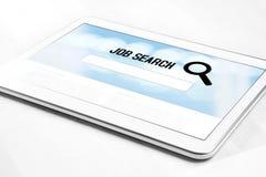 Site Web de moteur de recherche de travail en ligne sur l'écran de comprimé photos stock